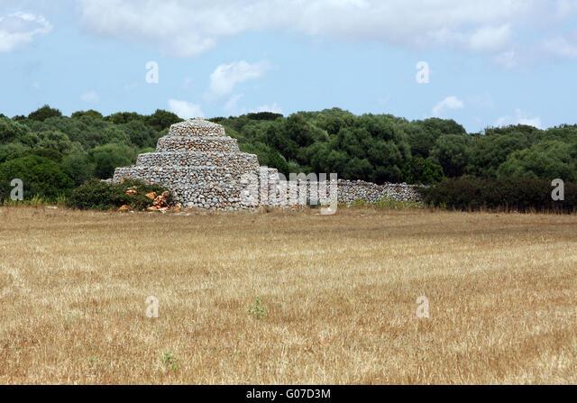 Cairn  Pyramid Tumulus Barrow Chamber - Minorca - Stock Image