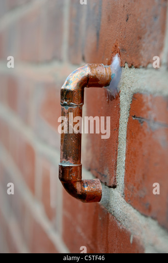 boiler pressure overflow pipe england uk - Stock Image