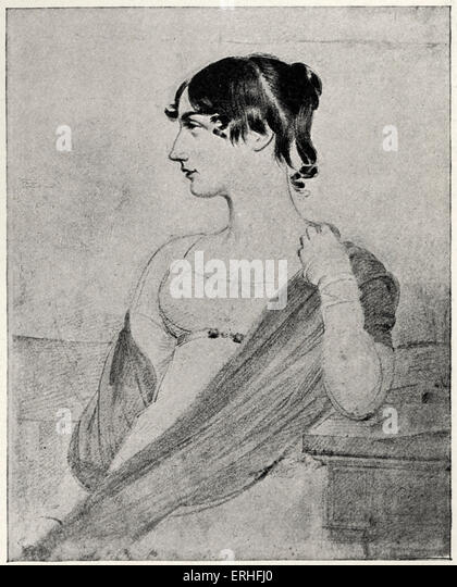Maria Edgeworth, illustrated portrait.  Irish novelist. 1 January 1767- 22 May 1849. From a drawing by Joseph Slater - Stock Image