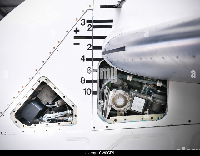 Close up of tail mechanism of airplane - Stock Image