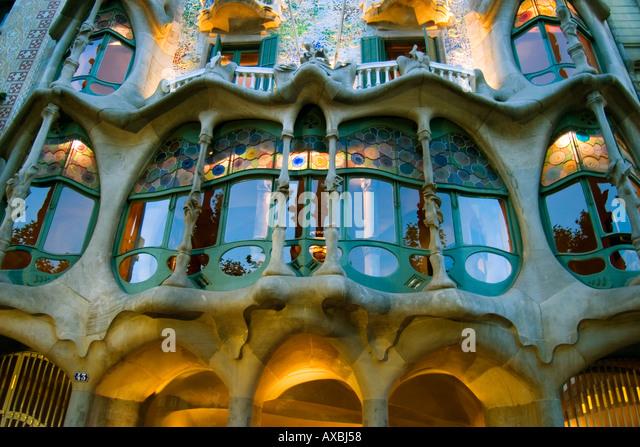 Casa Batllo 1904 1906 by Gaudi Barcelona Spain Fassade dusk - Stock Image