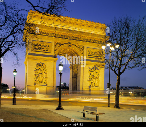 Arc de Triomphe Paris France at twilight - Stock Image