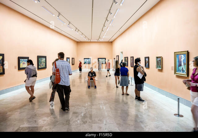 Spain Europe Spanish Madrid Centro Paseo del Prado Museo Thyssen-Bornemisza Museum art gallery - Stock Image