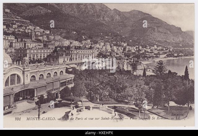 Café de Paris & Hotel Metropole, view towards St Roman, Monte-Carlo, Monaco - Stock Image