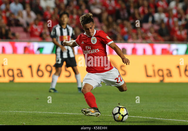 Benfica«s forward Franco Cervi from Argentina during the Premier League 2017/18 match between SL Benfica v - Stock Image