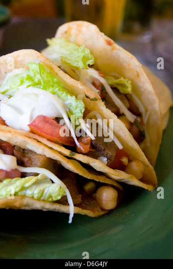 Crispy vegetarian tacos - with recipe - Stock Image
