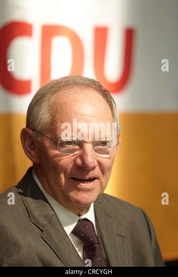Federal Finance Minister, Wolfgang Schaeuble, Koblenz, Rhineland-Palatinate, Germany, Europe - Stock Image