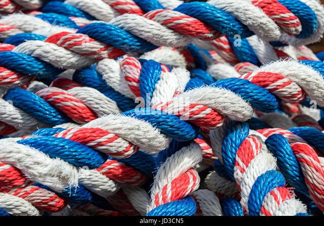 Colorful nautical rope - St. John's, Avalon Peninsula, Newfoundland, Canada - Stock Image