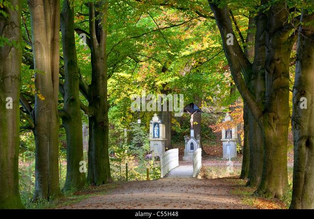 The Netherlands, Valkenburg, Roman catholic statues on estate and castle called Schaloen. - Stock-Bilder
