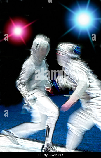 Two men in fencing tournament - Stock Image