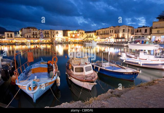 Dusk over the Venetian harbour, Rethymnon, Crete, Greece. - Stock Image