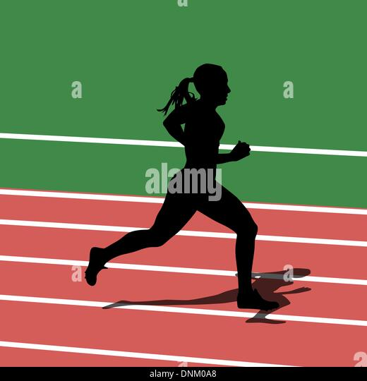 Running silhouettes in sport stadium. Vector illustration. - Stock Image