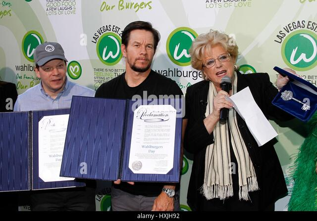 Las Vegas, NV, USA. 28th Mar, 2017. Paul Wahlberg, Mark Wahlberg, Caroline Goodman (Mayor of Las Vegas) in attendance - Stock-Bilder