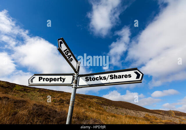 investment options UK Property stocks shares isa isas investment opportunities make money work grow invest pension - Stock Image