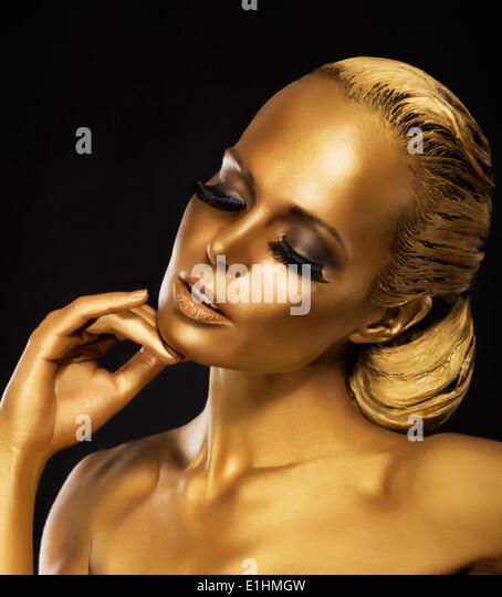 Stage. Theater. Luxurious Woman in her Dreams. Golden Color. Jewelry - Stock Image