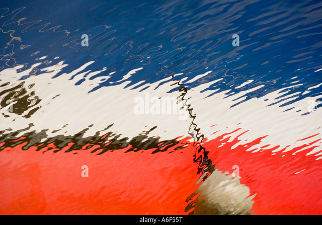 Abstract reflection of a boat - Stock Image