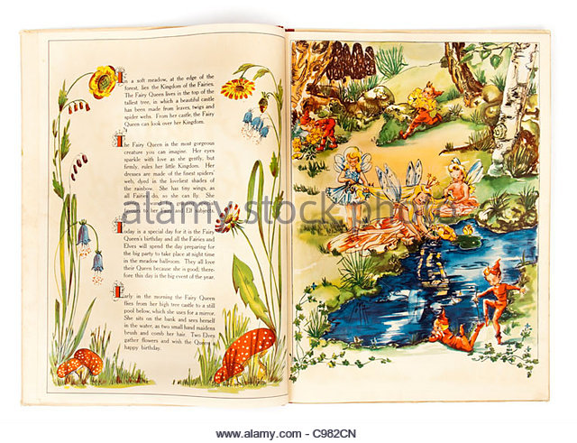 1940's children's book 'A Day in Fairyland' by Sigrid Rahmas, illustrations by Swedish illustrator - Stock Image