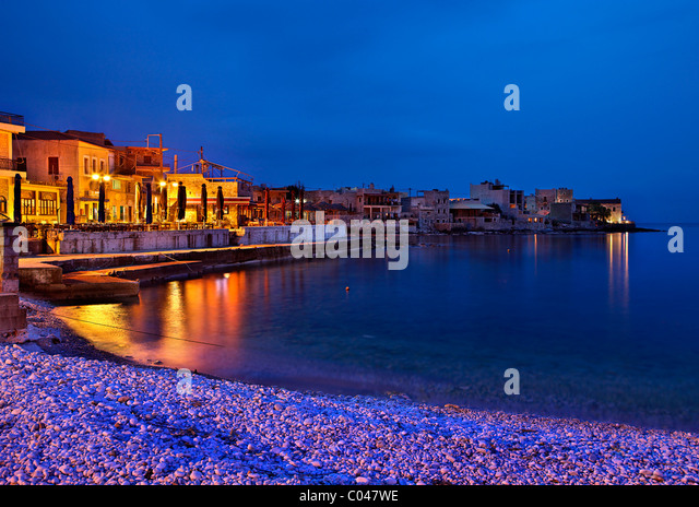 Gerolimenas, one of the most beautiful seaside villages of Mani region, at night. Lakonia, Peloponnese. - Stock Image