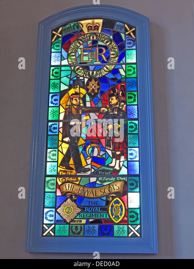 The Royal Regiment window, Canongate Kirk,Edinburgh,Scotland,UK'The first to follow, The last to forsake thee' - Stock Image