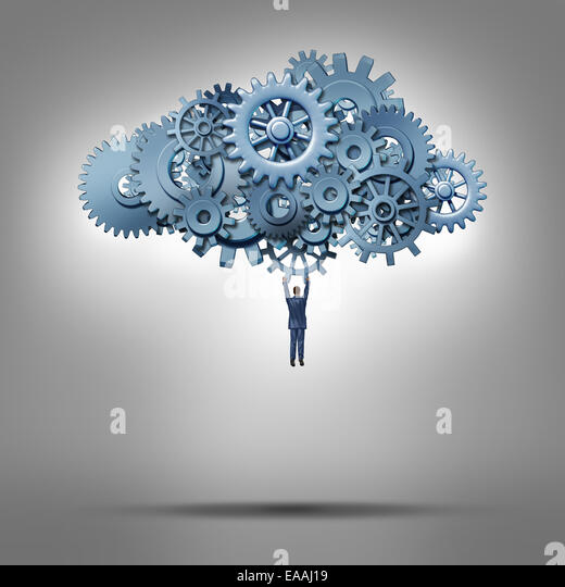 Cloud access and database hosting concept as a businessman hanging from a group of gears and cog wheels as a symbol - Stock-Bilder