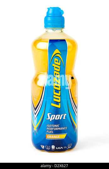 Bottle of Lucozade Sport isotonic energy drink, UK - Stock Image