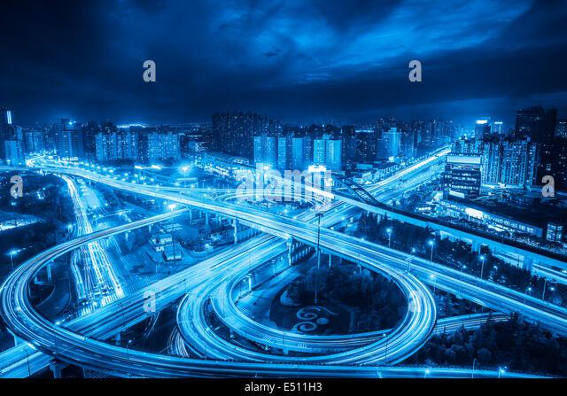 city interchange overpass - Stock Image
