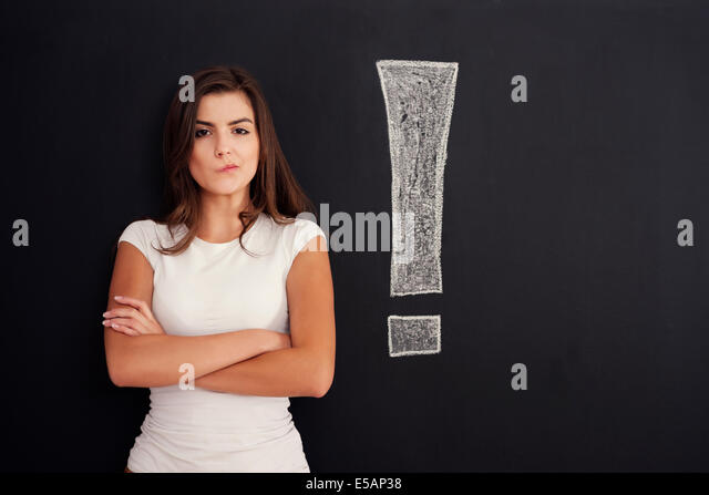 Young woman with grimace on her face, Debica, Poland - Stock Image