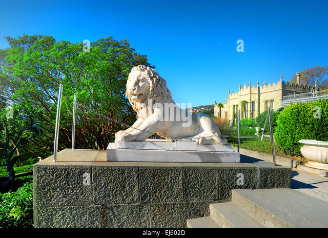 Statue of lion and stairs in Vorontsov's palace - Stock Image
