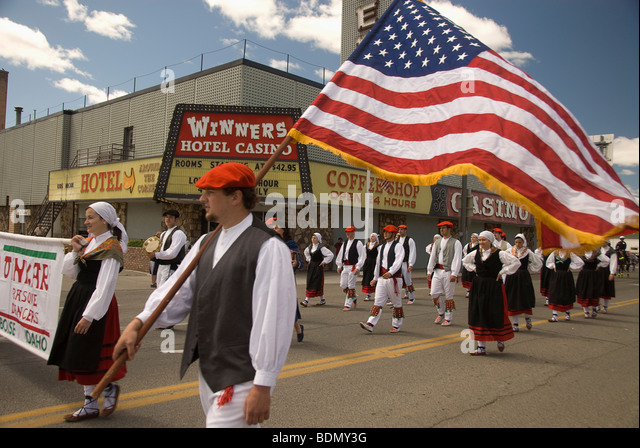 Basque Festival Parade down West Winnemucca Blvd; Winnemucca, Nevada - Stock Image