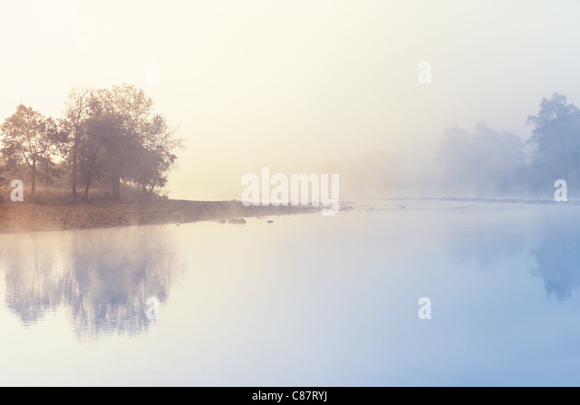 Misty Morning on the River. - Stock Image