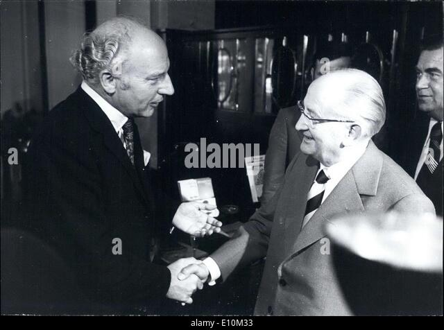 Jun. 03, 1973 - Pictured are the West German Foreign Affairs Minister Walter Scheel and the East German Foreign - Stock Image