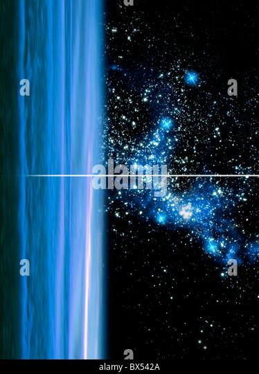 Uranus and star cluster, artwork - Stock Image
