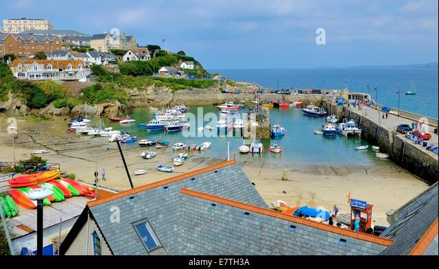 Newquay harbour Cornwall England uk - Stock Image