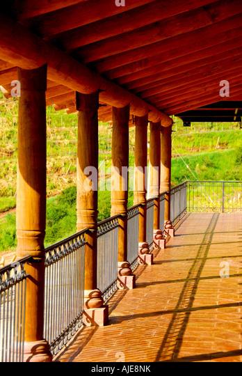 chile chilean wine country, Colchagua Valley, countryside vineyard hacienda columns horizontal horiz h m tim timothy - Stock Image