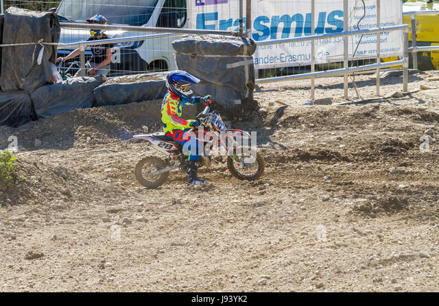 Motocross Kleinhau - 2nd heat Minis 50ccm DAM Meisterschaft - 27th of May 2017 - Kleinhau, Hürtgen, North Rhine - Stock Image