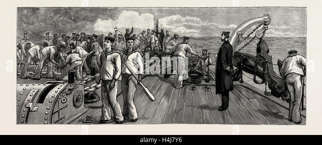 THE GUNNERY TRIALS OF THE LATEST IRONCLAD H.M.S. 'VICTORIA', 1889: ANCHOR TRIALS, CUTTING THE ANCHOR - Stock Image