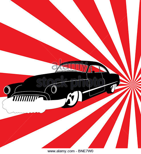 retro car illustration - Stock Image