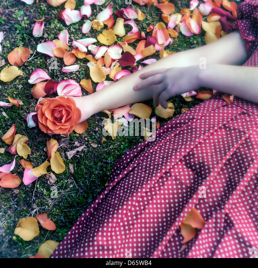 a girl in a red dress is lying on grass in between petals, a rose in her hand - Stock-Bilder