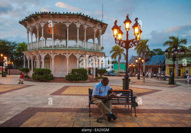 Gazebo in Central Park, Puerto Plata, Dominican Republic, West Indies, Caribbean, Central America - Stock Image