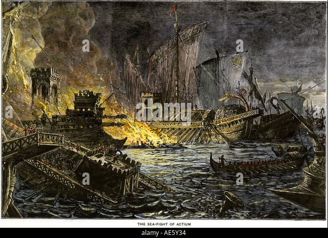 Sea battle of Actium 31 BC in which Octavius defeated Antony and Cleopatra - Stock Image