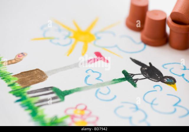 Garden scene with garden tools and flower pots , child's drawing in coloured pencils - Stock-Bilder