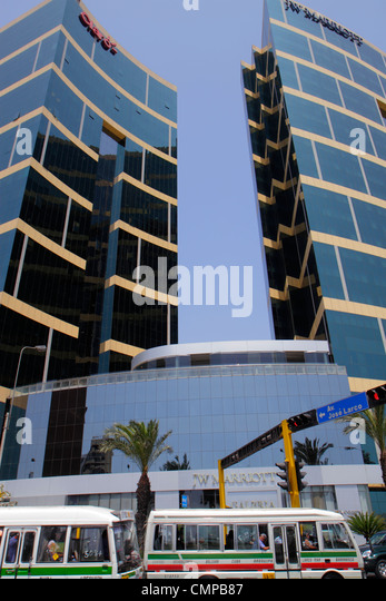 Lima Peru Miraflores Malecon de la Reserva JW Marriott five-star hotel chain luxury office tower building Arquitectonica - Stock Image