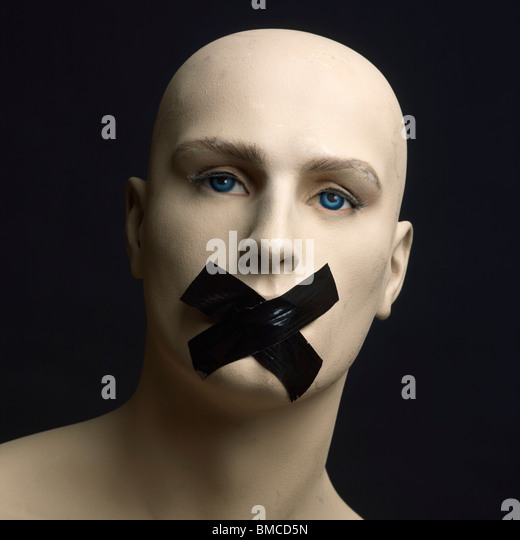 Dummy, mannequin, tape over mouth - censorship / secrecy / gagging / silence / free speech concept - Stock-Bilder
