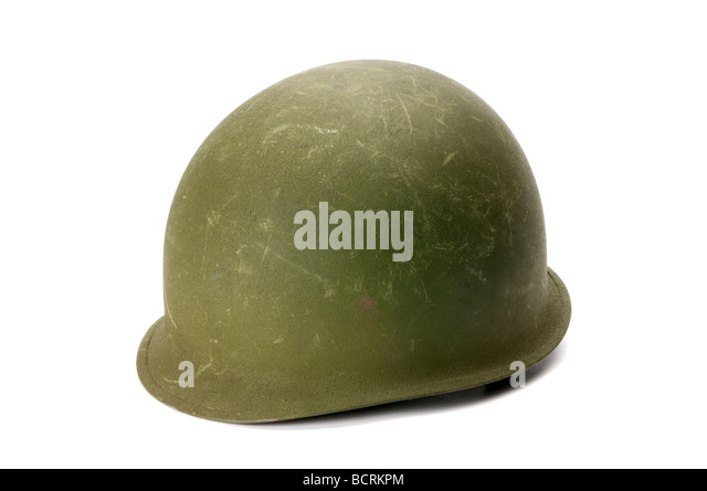 wwII army hat steel shell - Stock Image
