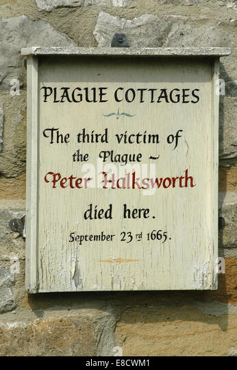 Eyam plague cottages sign - Stock Image