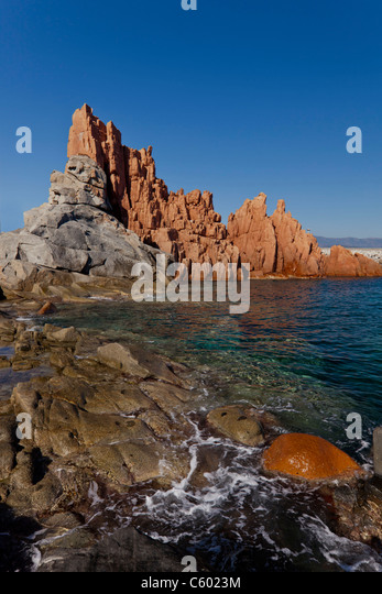 Red Rocks , Arbatax , Italy Sardinia Island, Mediterranean, Europe - Stock Image
