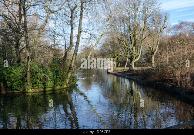 The old Boating Lake at Ward End Park in Hodge Hill, Birmingham - Stock Image