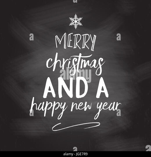 Chalkboard christmas and new year background with typography design - Stock Image
