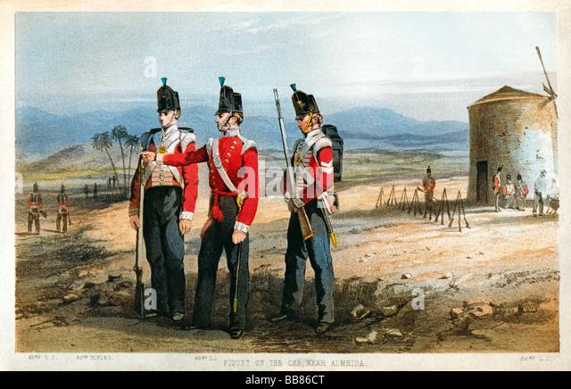 52nd Oxfordshire Light Infantry Peninsular War 1810 print of the British regiment piquet on the Coa near Almeida - Stock Image