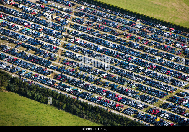 The Netherlands, near Almelo, Car scrap yard. Aerial. - Stock Image